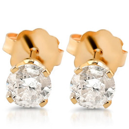 3/8ct Round Cut Diamond Studs Earrings 14K Yellow Gold (G/H, SI2/SI3)