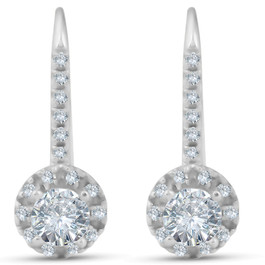 1ct Pave Halo Dangle Earrings 14K White Gold (G/H, SI)
