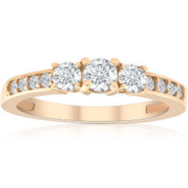 1/2ct Diamond Three Stone Ring 14K Yellow Gold (H/I, I1-I2)