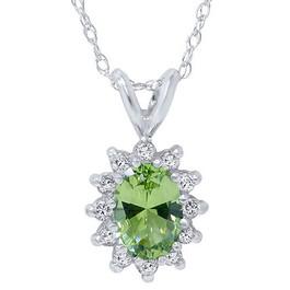 1 1/6ct Oval Peridot Halo Diamond Pendant 14K White Gold (G, I2-I3)