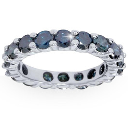 3ct Blue Diamond Eternity Ring 14K White Gold (Blue, I1)
