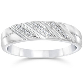 1/5ct Mens Diamond Ring 10K White Gold (H/I, I1-I2)