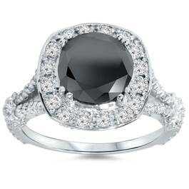 4ct Black Treated Diamond Cushion Vintage Engagement Ring 14K White Gold (G/H, I1-I2)