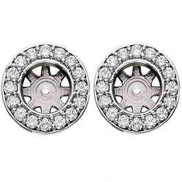 3/4ct Halo Diamond Studs Earring Jackets White Gold (6-6.5mm) (G-H, SI)