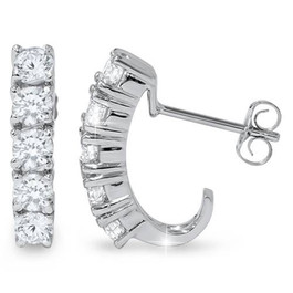 1ct Diamond Hoops 14K White Gold (G/H, I1-I2)