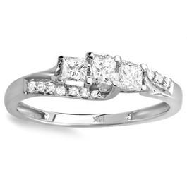 1/2ct Princess Cut Diamond 3 Stone Engagement Ring 10K White Gold (I/J, I1)