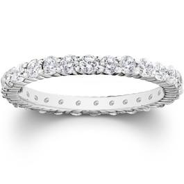Platinum 1ct Prong Diamond Eternity Wedding Ring (G-H, I1)