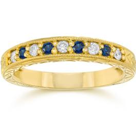 1/4Ct Blue Sapphire & Diamond Vintage Ring 14K Yellow Gold (I/J, I1-I2)