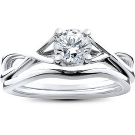 1/2ct Intertwined Diamond Engagement Ring Set 14K White Gold (G/H, I1-I2)