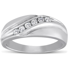 Mens 14K White Gold 1/4ct Diamond Wedding Ring High Polished Smooth Band (G/H, I1)