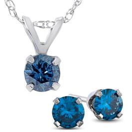 3/4ct Blue Diamond Solitaire Pendant & Studs Set 10K White Gold & Chain (Blue, I2-I3)