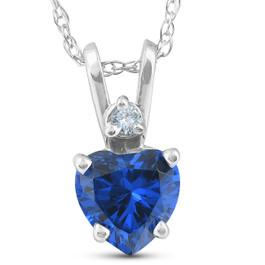 Diamond & Simulated Blue Sapphire Heart Shape Pendant Necklace 14K White Gold (I-J, I1-I3)