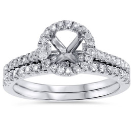 1/2ct Halo Diamond Engagement Wedding Ring Set 14K White Gold (G/H, I1)