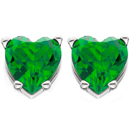 1ct Heart Shape Simulated Emerald Studs Earrings 14K White Gold