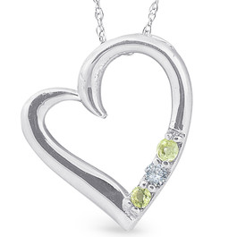"Diamond & Peridot Heart Pendant 3-Stone 10K White Gold with 18"" Chain (G/H, I2)"