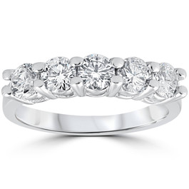 1ct Diamond Wedding Five Stone Ring 14k White Gold (G/H, SI(2)-I(1))