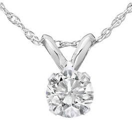 1/4ct Solitaire Diamond Pendant Necklace 14K White Gold (J-K, I2-I3)