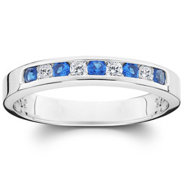 1/4ct Diamond & Blue Sapphire Anniversary Wedding Ring 14k White Gold (H, I2/I3)