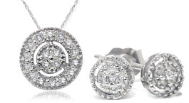 1/4ct Diamond Matching Pendant & Earring Vintage Style Set 10K White Gold (H/I, I2/I3)