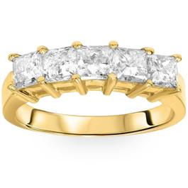 2ct HUGE Princess Cut Diamond Anniversary Gold Ring (H, I1)