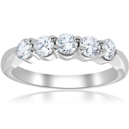 1/2ct Round Diamond Wedding Ring 14K White Gold Five Stone (G, I1)