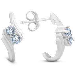1/3CT Forever Us 2 Stone Diamond Earrings 14K White Gold (G/H, I1-I2)