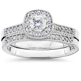 5/8Ct Diamond Bridal Vintage Engagement Ring Set 10K White Gold (H/I, I1-I2)