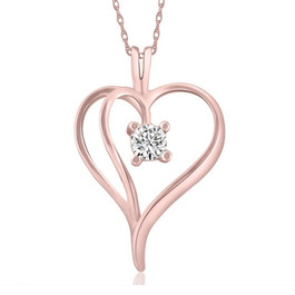"1/3Ct Solitaire Round Diamond Heart Pendant & Chain 14K Rose Gold 1"" Tall (G/H, I2)"