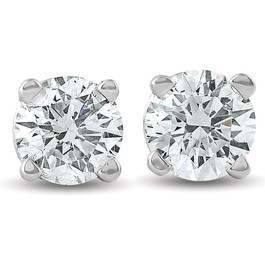 3/4Ct Round Diamond Studs Brilliant Cut Earrings 14K White Gold Enhanced (I, SI1-SI2)