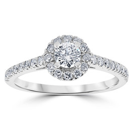 3/4ct Round Diamond Halo Engagement Ring 14K White Gold (G/H, SI2-I1)