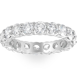 Platinum 3ct Round Diamond Eternity Wedding Ring (G/H, I1)