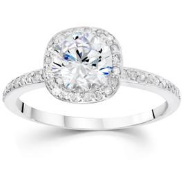 1 1/20ct Pave Halo Diamond Ring 14K White Gold (G/H, I1-I2)