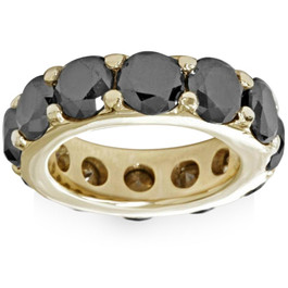 12 1/2ct Black Diamond Eternity Ring 14K Yellow Gold (Black, )