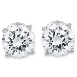 1ct Round Diamond Stud Earrings in 14K Whte Gold with Screw Backs (I-J, I2-3)