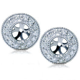 1/2ct Halo Diamond Earring Jackets 14K White Gold (2-5mm) (G-H, I1)
