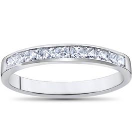 Princess Cut 1/2ct Diamond Wedding Anniversary 14K Ring White Gold (H, I1)