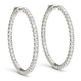 "1.75 ct Diamond Hoops Inside Outside 1"" Tall 14K White Gold Vault Lock (G, SI)"