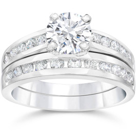 2 Carat Diamond Solitaire Engagement Ring Matching Wedding Band White Gold 14kt (G/H, I1-I2)