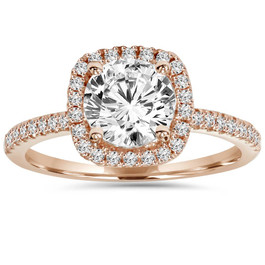 1 1/2ct Lab Created Diamond Cushion Halo 14K Rose Gold Engagement Ring (F, VS)