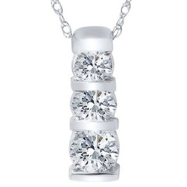 14k White Gold 1/2ct Three Stone Round Diamond Pendant (H/I, I2)