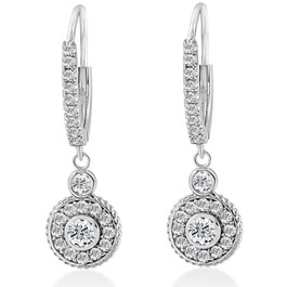 "F/G SI 3/4  Dangle Diamond Halo Vintage Hoops 18k White Gold 1"" tall (F, SI)"