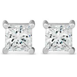 2 ct TDW Princess Cut Diamond Screw Back Studs 14k White Gold Enhanced ((G-H), SI(1)-SI(2))