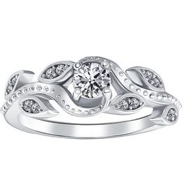 3/8ct Vintage Floral Leaf Diamond Engagement Ring 14K White Gold (H/I, I1-I2)