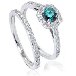 1ct Cushion Halo Blue Diamond Engagement Ring Set 14K White Gold (G/H, I1-I2)
