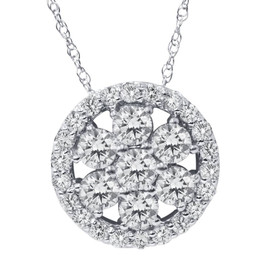 1 ct Diamond Halo Pendant 14K White Gold (G/H, I1-I2)