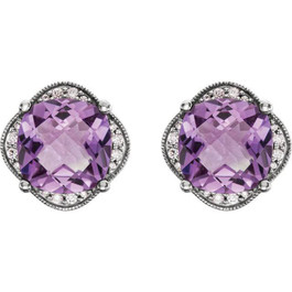 Large Amethyst & Diamond Vintage 4.25CT Halo Studs Womens Earrings White Gold (H-I, I1-I2)