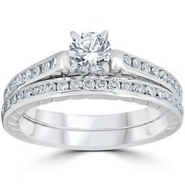 1ct Vintage Diamond Engagement Ring Set 14K White Gold With Matching Band (G/H, I1-I2)