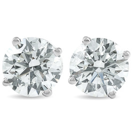 2 Carat Round Lab Grown Diamond Studs 14K White Gold With Screw Backs (I, VS)