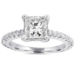 Princess Cut Diamond 1 1/3 ct Engagement Ring 14k White Gold ((G-H), SI(1)-SI(2))