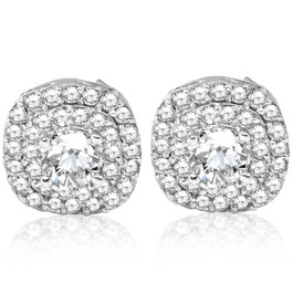 3/4ct Pave Double Halo Diamond Studs 10K White Gold (I-J, I2-I3)